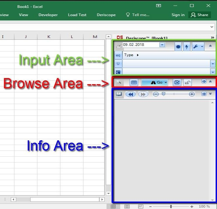 Deriscope Excel taskpane three areas: Input, Browse and Info