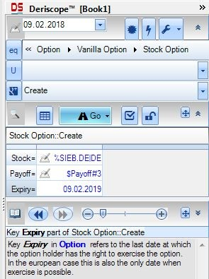 Deriscope Excel taskpane displaying the mandatory parameters only