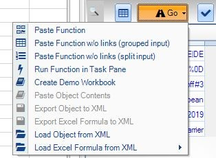 Deriscope Excel Go button menu