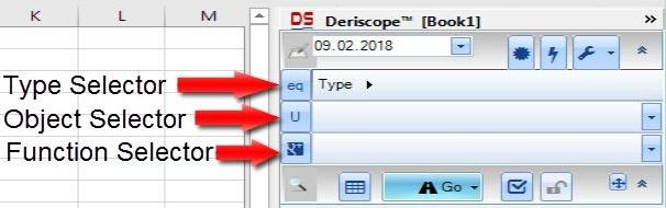 Deriscope Excel taskpane three selectors within Input Area: Type, Object and Function