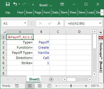 Deriscope Excel function with Keys aligned vertically on the left column