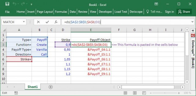 Deriscope Excel function with the input split into several ranges