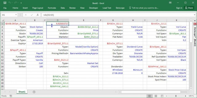Pricing of American option in Excel using Quantlib and Deriscope in the case of no dividends