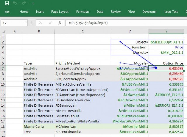 List of Quantlib models for pricing american options without dividends in Excel using Deriscope