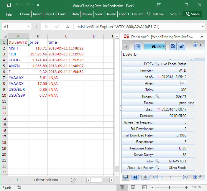 Market Data in Excel from World Trading Data - Resources
